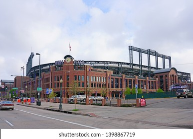 DENVER, CO -10 MAY 2019- View of the Coors Field, home of the Colorado Rockies, a historic MLB baseball park stadium located in Denver, Colorado.