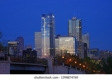 DENVER, CO -10 MAY 2019- Sunset view of high-rise buildings in the skyline of downtown Denver, Colorado.