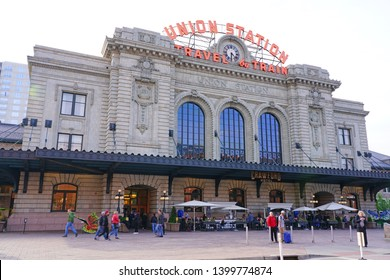 DENVER, CO -10 MAY 2019- View of the Union Station Denver, the main railway station in Denver, located on 17th and Wynkoop Street in downtown Denver, Colorado.