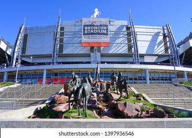 DENVER, CO -11 MAY 2019- View of the Broncos Stadium at Mile High (Invesco Field, Sports Authority) located in Denver, Colorado.
