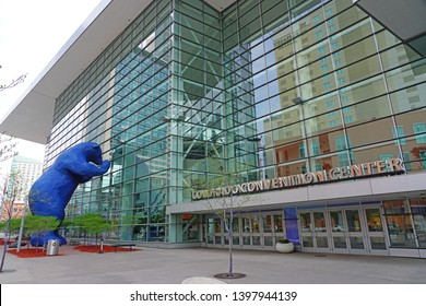 DENVER, CO -11 MAY 2019- View of the Colorado Convention Center, known for its blue bear sculpture, located in Denver, Colorado.
