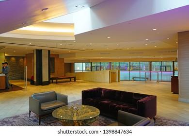 DENVER, CO -8 MAY 2019- View of the Hyatt Regency Denver Tech Center, a high-rise hotel located in Denver, Colorado.