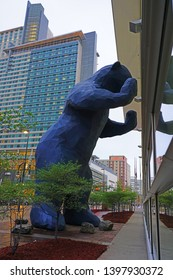 DENVER, CO -9 MAY 2019- View of the Colorado Convention Center, known for its blue bear sculpture, located in Denver, Colorado.