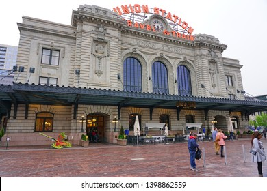 DENVER, CO -9 MAY 2019- View of the Union Station Denver, the main railway station in Denver, located on 17th and Wynkoop Street in downtown Denver, Colorado.