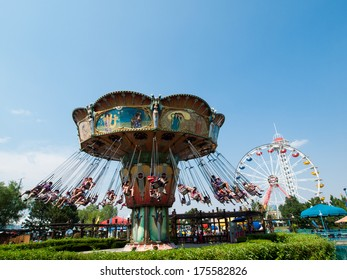 "DENVER, CO - AUG 14, 2012: Elitch Gardens Theme Park, locally known as ""Elitch's"", is an amusement park in Denver, Colorado."