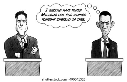 DENVER, CO - OCTOBER 4, 2012: At the first presidential debate of 2012, President Barack Obama wishes he'd taken Michelle out to dinner instead of participating in the debate.