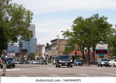 Denver, CO / US - July 2019: View down S Broadway