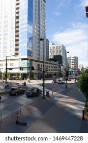 Denver, CO / US - July 2019: Downtown 11th street near union station in the morning light