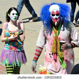 Denver, CO, USA, April 20, 2014. Unidentified scary looking clowns walking around the Pot Festival in Denver, Colorado.