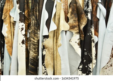 Denver, CO, USA. Jan 18, 2020. Leather Cowhides for sale at an outdoor event in Denver. These leather hides are used to make purses, shoes, upholstery, belts and other fashion items.
