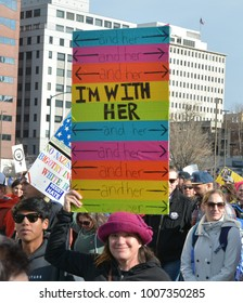 Denver, CO, USA, Jan 20,2018, Woman's march in Colorado is for solidarity for social justice, human rights and equality for women. People holding up signs while participating in the march.