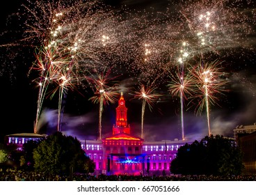 DENVER, CO USA July 3 2014 Independence Eve 4th of July Celebration Fireworks in Civic Center Park in downtown Denver Colorado USA