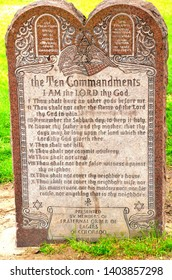 Denver, CO, USA. June 1, 2013. This Ten Commandants Stone Tablet stature used to be in a city park downtown until atheists protested it being there on the grounds that it made them feel bad.