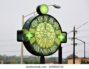 Denver, CO, USA. June 25, 2019. Green Man Cannabis is one of Colorado's many marijuana dispensary's located at 7289 Hampden Ave in Denver. Marijuana was legalized in Colorado in 2014.