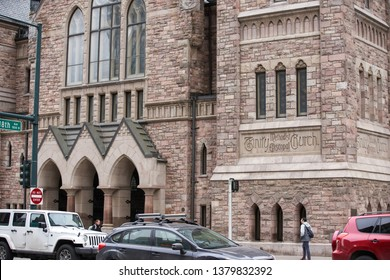 DENVER, CO, USA - MARCH 15, 2019: Trinity Methodist Episcopal Church Downtown Denver CO image