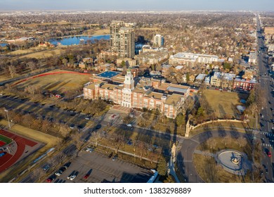 DENVER, CO, USA - MARCH 15, 2019: Aerial video of the Denver East High School
