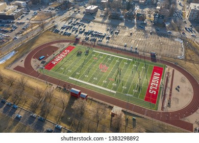 DENVER, CO, USA - MARCH 15, 2019: Aerial video of the Denver East High School football field