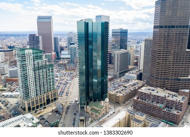 DENVER, CO, USA - MARCH 15, 2019: Aerial drone photo of office buildings and apartments Downtown Denver Colorado