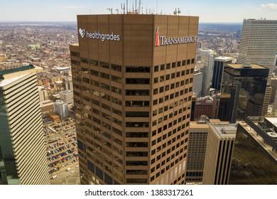 DENVER, CO, USA - MARCH 15, 2019: Aerial photo of the Transamerica Healthgrades Tower Downtown Denver