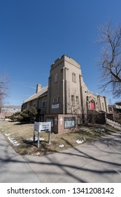 Denver, CO, USA, March 16, 2019- Out Savior's Lutheran Church in Denver´s Capitol Hill Neighborhood