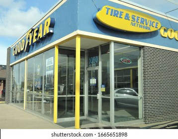 Denver, CO, USA. March 2, 2020. The Goodyear Tire & Rubber Company is an American multinational tire manufacturing company. This one is located on Havana Street in Denver.