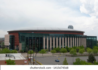 DENVER, CO, USA - May 26, 2019: The Pepsi Center is an arena facility that is home to multiple professional sports teams the Colorado Avalanche of the NHL.