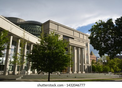 DENVER, CO, USA - May 26, 2019: The Ralph L. Carr Colorado Justice Center is the location of the Colorado Supreme Court and Court of Appeals.