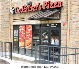 Denver, CO, USA. May 9, 2019. This Godfather's Pizza is one of only two stores in the entire State of Colorado. They are located at 9567 E. Iliff Ave in Denver. They were founded in 1973.