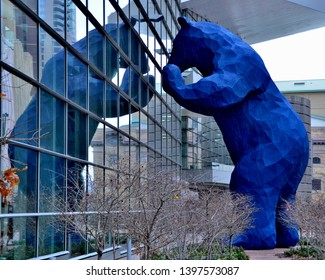 Denver, CO, USA. Nov 10. 2012. Denver's Big Blue Bear looking into the windows of the Colorado Convention Center located on 14th Street. This is a famous iconic Denver Landmark.