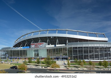 DENVER, CO, USA - October 8. 2016: Sports Authority Field at Mile High Stadium is the home of the Denver Broncos NFL football team.