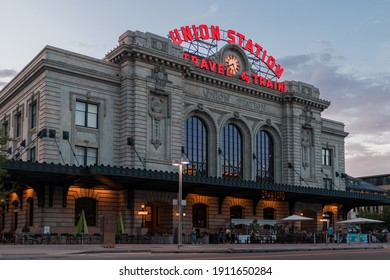 Denver, Colorado 2020 - The front facade of Union Station with restaurants at sunset during the summer