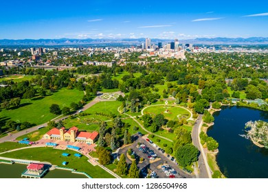 Denver Colorado aerial drone view above Rocky Mountain landscape green summer scene from above an amazing modern growing city above City Park