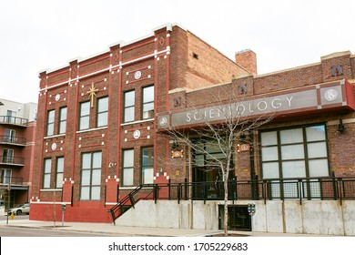 Denver, Colorado - April 15th, 2020:  Empy street near Church of Scientology in the RiNo District during Covid-19 stay at home order.  River North Arts District