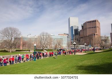 DENVER, COLORADO - APRIL 16, 2018: Colorado Educators Gather at the Colorado State Capitol in Downtown Denver to Ask the Legislature to Preserve Colorado PERA and for School Funding