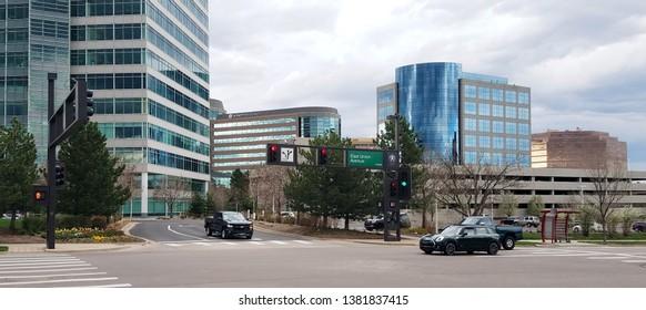 Denver, Colorado - April 26, 2019: Denver Technological Center, better known as The Denver Tech Center or DTC, is a business and economic trading center
