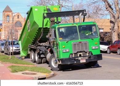 Denver, Colorado - April 6, 2017: Refuse Collection Vehicle Peterbilt