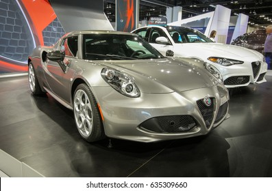 Denver, Colorado - April 7, 2017: The Denver Auto Show 2017 featuring Alfa Romeo 4C Spider. 237 Horsepower, top speed - 160 MPH, recommended price: $65,900
