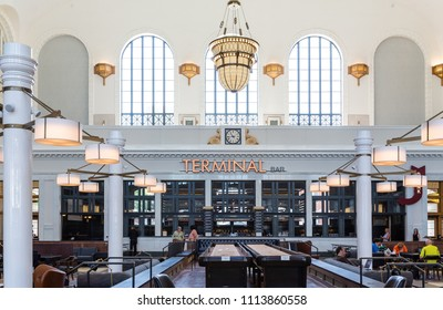DENVER, COLORADO - August 12, 2014: Tourism is a huge part of Denver's economy, with 11 record setting years in a row. This has made it a boon for restaurants. The Union Station area is booming