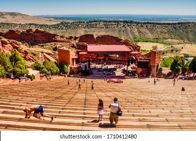 DENVER, COLORADO - August 19, 2012: Red Rocks Amphitheatre is an open-air theater built into rock ten miles west of Denver, which opened in 1941.