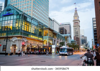 DENVER, COLORADO - AUGUST 25: Views of the main shopping street 16th Street in Denver on August 25, 2015. On this street are free public buses driving and it provides a lot of shopping opportunities.