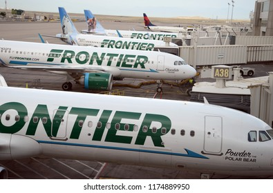 DENVER COLORADO CIRCA SEPTEMBER 2018. Frontier Airlines with aircraft at gate, while characterized as a low cost carrier, Frontier continues to expand with new routes in the United States.