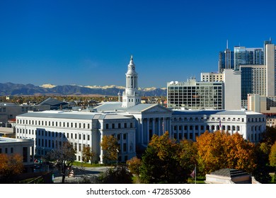 Denver, Colorado City Hall with Colorful Fall Leaves and the Rocky Mountains in the Background