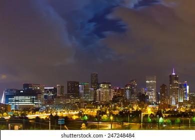 Denver Colorado downtown city skyline at night