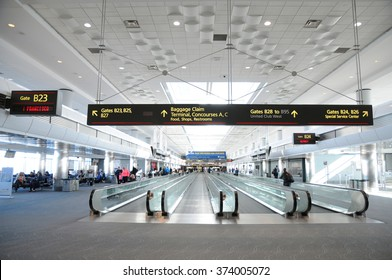 DENVER, COLORADO, FEB 7: Tourists and travelers in the Denver International airport (DIA) on Feb 7, 2016. The Denver airport is the largest airport in the United States by total land area