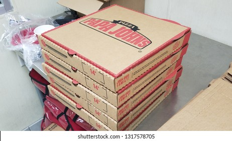 Denver, Colorado - February 19, 2019: pizza boxes of Papa John's Pizza. Please check my Papa John's Pizza Set for the similar photos