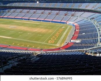 DENVER, COLORADO - February 4, 2017 - view of the Broncos football field and stadium