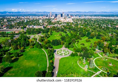 Denver Colorado green space city park aerial drone view high above the mile high city along the Rocky Mountain front range August 2018 sunny morning in the park