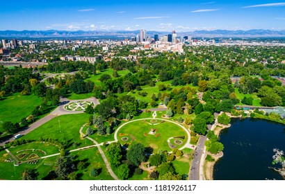 Denver Colorado green space city park aerial drone view high above the mile high city along the Rocky Mountain front range