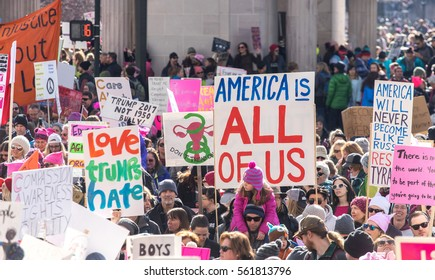 DENVER, COLORADO - JANUARY 21 2017: 200,000 protestors march in downtown Denver in the Women's March on January 21st 2017, one day after President Trump's inauguration.