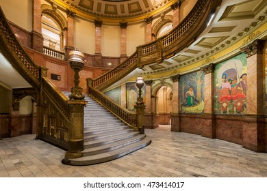 DENVER, COLORADO - JULY 18: Grand Staircase in the Colorado State Capitol on July 18, 2016 in Denver, Colorado